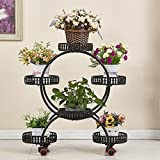 LQQGXL Iron multi-layer movable push-pull flower rack with floor-standing pot racks living room shelf Flower stand (Color : B)
