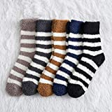 10 Pares Striped Socks Men Soft Man Fluffy Socks Thick Coral Velvet Winter Warm Home Indoor Floor Terry Towel Fuzzy Sock Mens