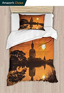 CheeryHome European Style Print Bed Set, Big Giant Statue by The River at Sunset Thai Culture Scene Yin Yang Print, 100% Cotton Bedspread/Quilt Set, 2 Pieces,63 W x 82 L Inches, Burnt Orange