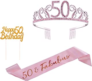 50th Birthday Cake Topper, 50th Sash Satin 50 & Fabulous Sash and Pink Rhinestone 50th Tiara for 50th Birthday Decorations and Party Supplies