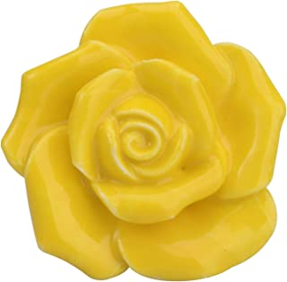 42mm (1.65in) Premium Rose Flower Ceramic Drawer Door Knob Pull Handle Cabinet Drawer Pulls Cupboard Knobs for Home Office Cabinet Cupboard DIY - 8 Pack (Yellow)