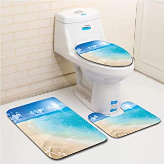 Family bathroom set of 3, bathroom rug + contour pad + lid toilet seat Beach,Sunny Summer Seashore with Clear Sky Seashells Starfish Clouds Aquatic Picture,Aqua Cream Blue flannel carpet