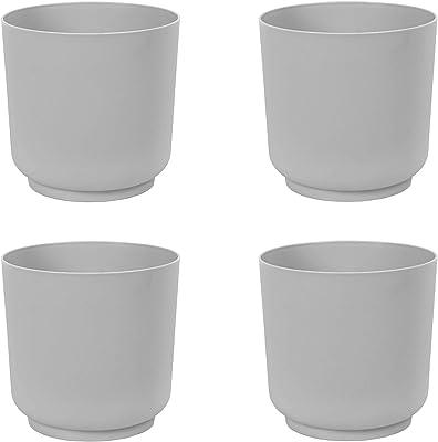 Sarasota Modern Plastic Planter Flower Pot – Pack of 4 – Indoor Outdoor for Home & Garden (7'', Platinium)