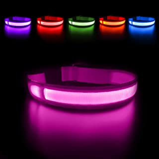 MASBRILL Light Up Dog Collar, LED Safety Collar with USB Rechargeable Super Bright Dog Flashing Collar with 100% Waterproo...