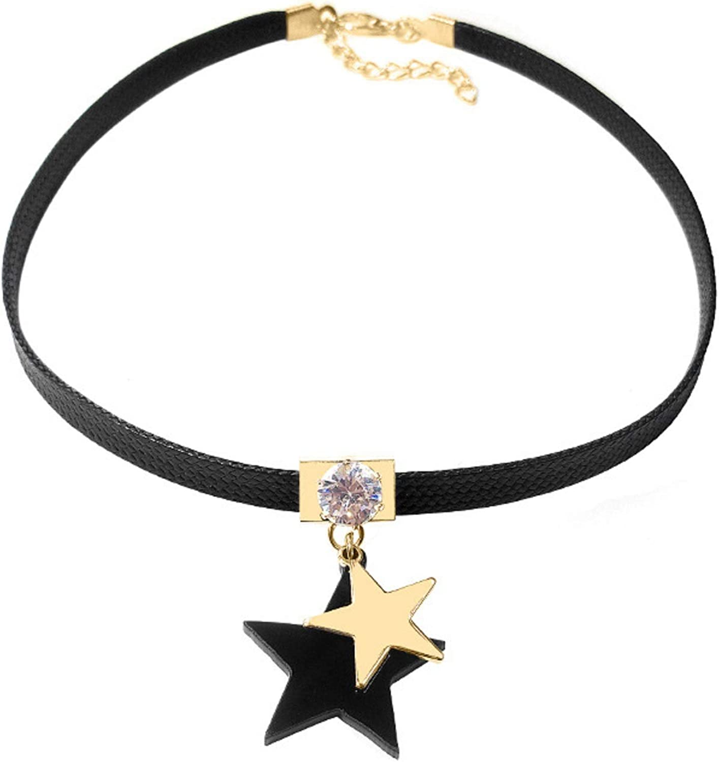GUANGZHENSPD Black Vegan Leather Choker and Collar Necklace with star pendant - Adjustable