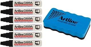 Jiffco Artline 5109A Big Nib Whiteboard Markers 6 Pack Black Bundle With Magnetic Eraser