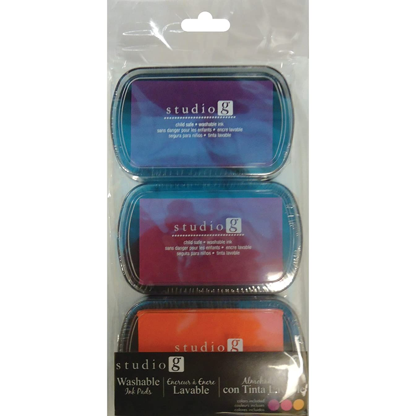 Hampton Art Washable Ink Pads, Brights, 3-Pack