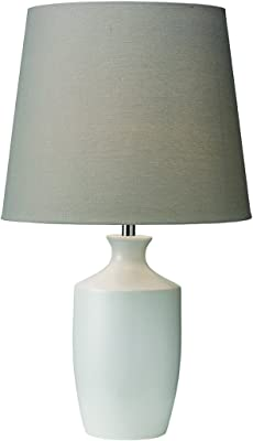 Village At Home Ernest Table Lamp, Ceramic, B22, 60 W, White with Grey Shade