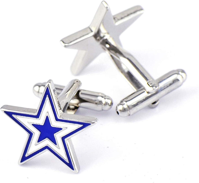 Daesar Cuff Links Copper Cufflink for Groom Pentagram Cufflinks Shirt Studs Blue