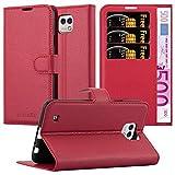 Cadorabo Custodia Libro per LG X Cam in Rosso Carminio - con Vani di Carte, Funzione Stand e Chiusura Magnetica - Portafoglio Cover Case Wallet Book Etui Protezione