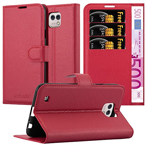 Cadorabo Hülle für LG X CAM - Hülle in Karmin ROT – Handyhülle mit Kartenfach & Standfunktion - Hülle Cover Schutzhülle Etui Tasche Book Klapp Style