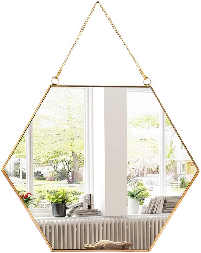 Buy Longwin Hanging Wall Hexagon Mirror Decor Gold Geometric Mirror With Chain For Bathroom Bedroom Living Room 9 4x 8 2 Online In Indonesia B08cmzmm3f