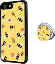 Case for iPhone 6s Plus 6 Plus Honey Bees Anti-Scratch Hard Backplate Back Cover with Ring Holder for iPhone 6s Plus 6 Plus Black Shock-Proof Protective Case [Anti-Slippery]