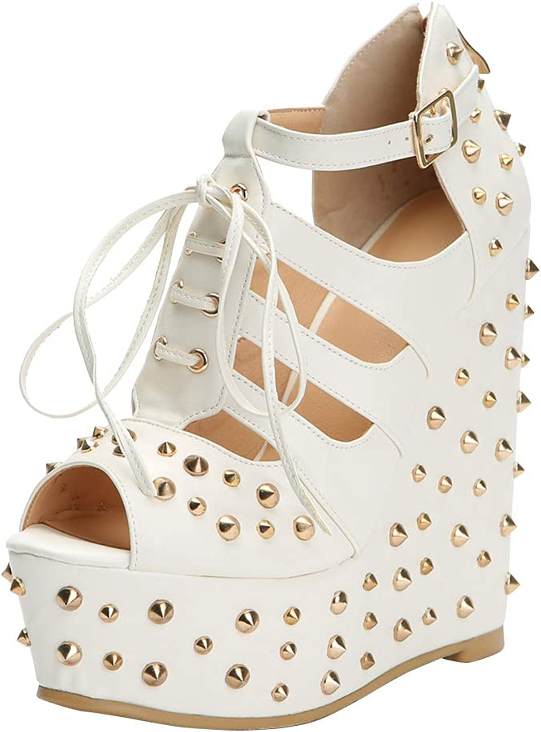 CASSOCK Women's Wadge Heel Sandals Rivets Spikes Lace-up Party Prom Summer Sexy Sandal shoes