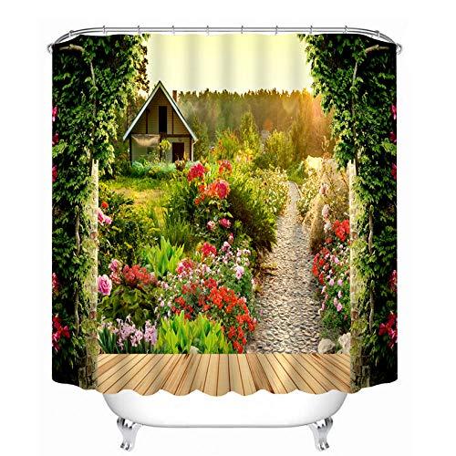 Pastoral 3D Shower Curtains Flower Garden Scenery Pattern Bathroom Curtains Waterproof Washable Bath Curtain Bathroom Products-180X180cm