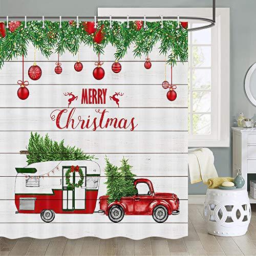 Weihnachts-Duschvorhang, rotes Retro-LKW-Fahrzeug mit bunten Weihnachtskugeln, Tannenbaum, Schneeflocke, Weihnachtsbaum auf rustikalem Holz, Stoff-Duschvorhang-Haken, 178 cm