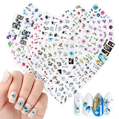 NETUME 24 Blatt Nagelsticker Nagelaufkleber Selbstklebende Wassertransfer Nail Art Sticker Blumen Schmetterling Fingernägel Schablone Nagel Tattoos Aufkleber Nageldesign für Mädchen Frauen