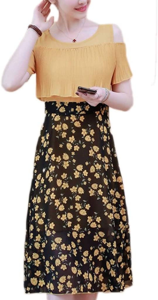 Dress,Women's Cocktail Formal Swing Dress Fresh Short-Sleeved Slim Women's Fake Two-Piece Skirt 3 Colors 5 Sizes Sleeveless Slim Business Pencil (Color : C, Size : M)