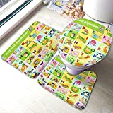 HOSNYE Cute Animal Alphabet 3 Pieces Bathroom Rug Set from A to Z Cartoon English Children Colorful Alligator Non-Slip Bath Mats U-Shaped Contour Rug Floor Mat and Toilet Lid Cover