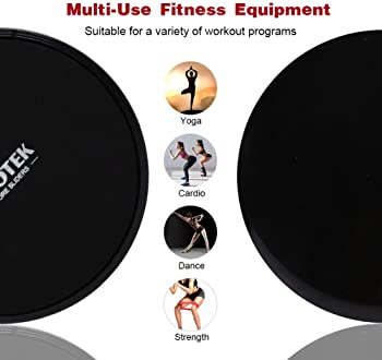 Kootek Resistance Bands and Core Sliders Fitness Kit, 4 Pack Double Sided Gliding Discs Exercise Bands Bundle, Loop B...