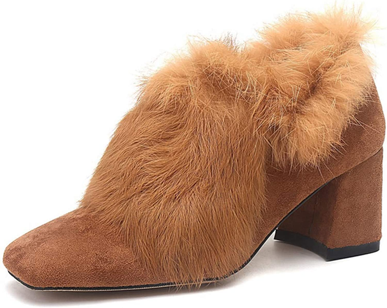 Shiney Women's Boots New 2018 Plus shoes Chunky Heel Rabbit Fur High Heels Autumn Winter