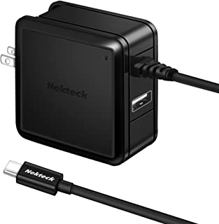 Nekteck USB Type C Charger, 4.8A 24W Dual USB Wall Charger Build in USB-C Charging Cable Foldable Plug for Google Pixel 2/ Pixel/ Pixel XL Galaxy Note 8/ S8/ S8 Plus More, Black