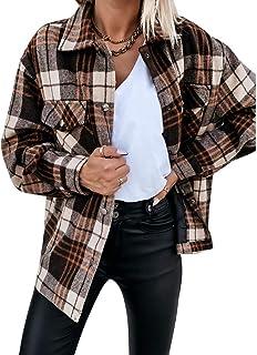 MoneRffi Hemdjacke Damen Karierte Jacke Bluse Holzf/ällerhemd Karierte Hemd Langarm Loose Bluse Kariert Mantel Mode Boyfreind Oversize Jacke M/ädchen