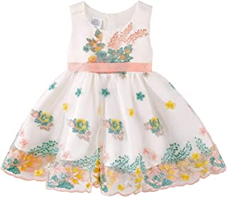 KGYA Baby Girls Dresses Toddler Christening Flower Sleeveless Bowknot Waistband Tutu Dress