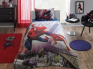 Duvet Cover Set 3 pcs Twin Size/Single 100% Cotton Beding Linens for Kids Children (Spiderman Action)