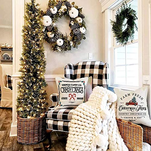 AENEY Christmas Pillow Covers 18x18 Set of 4, Farm Fresh Tree Red Truck Rustic Winter Holiday Throw Pillows Farmhouse Christmas Decor for Home, Xmas Decorations Cushion Cases for Sofa Couch A282
