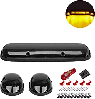 NPAUTO 3pcs Smoked LED Cab Marker Lights Amber 30 LED Roof Top Clearance Lights Running Light w/Wiring Pack for 2002-2007 Chevy Silverado GMC Sierra 1500 1500HD 2500 2500HD 3500 Pickup Truck