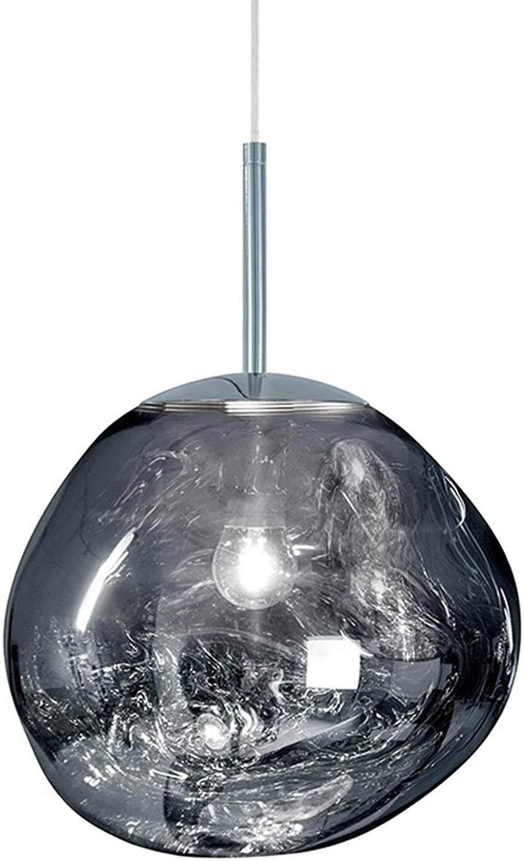 a la venta ZZW Lámparas de Hierro, Postmodern LED de Cristal Irregular Lava Lava Lava Lámparas de Techo Nordic Bar Sala de Estar Mesa de Comedor Luces Pendientes Creativa Cafe Sala de araa (Color   plata, Talla   20cm)  en linea