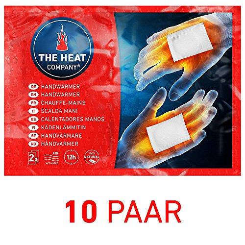 THE HEAT COMPANY Scaldamani - 10 paia - EXTRA CALDO - Scaldini - 12 ore mani calde - pronti all'uso - autoriscaldante - puro naturale