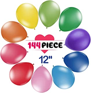 144 Pack Party Balloons, 12 Inch Premium Assorted Balloons, Colorful Thickened Latex Balloon Set, Perfect Decoration for Party, Birthday, Ceremony, Christmas, Wedding