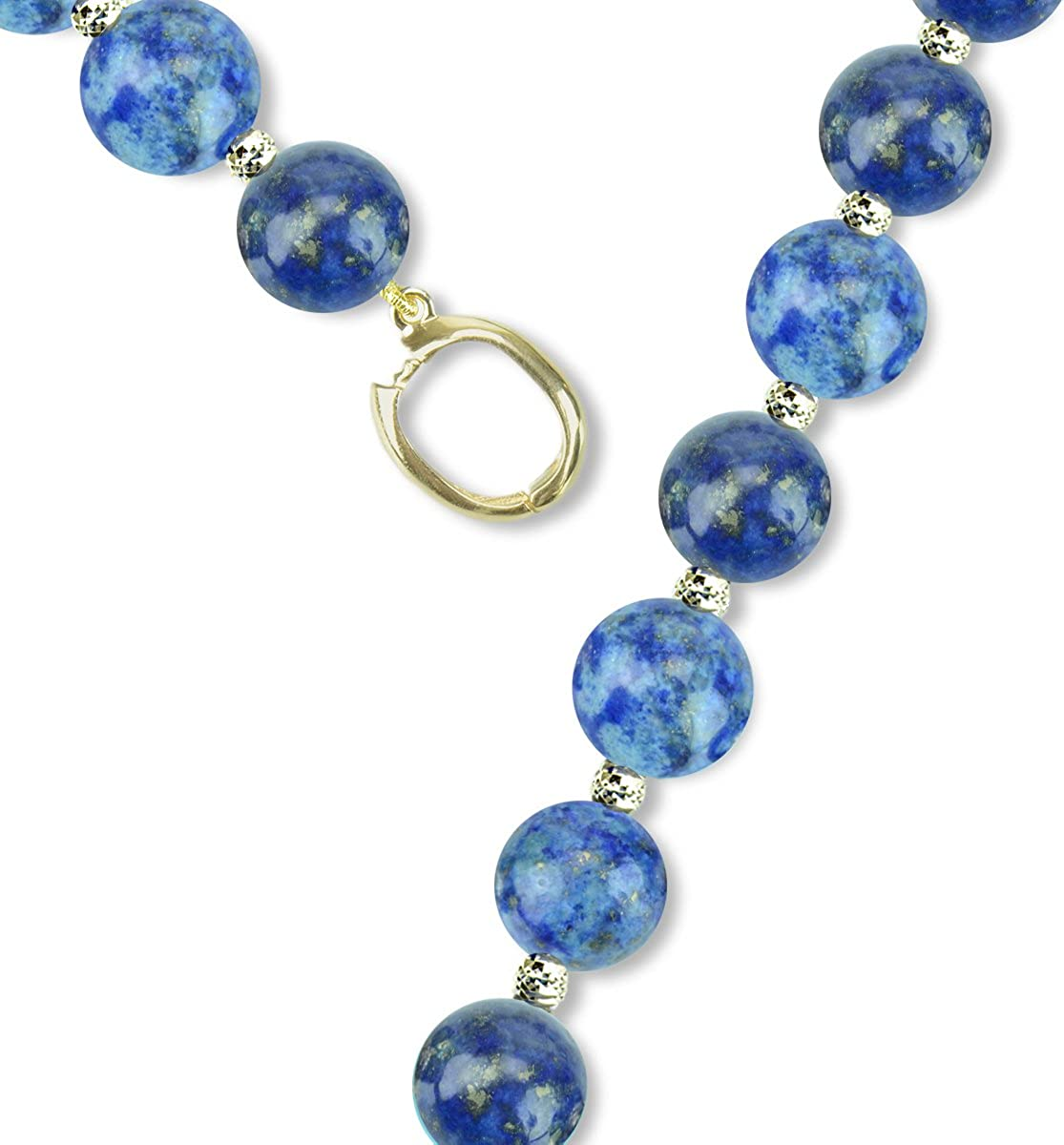 Simulated Gemstone Bead Y Necklace 14K Yellow Gold Jewelry for Women 8mm 21 inch