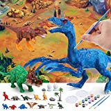 Kepfat Kids Toy Dinosaur Painting Set with Playing Map, with 3-Piece Toy Paintable Dinosaurs, 12-Piece Small Dinosaurs, 1-Piece Large Playing Map and Painting Accessories, Gift Choice for Boys Girls