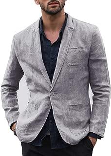 Mens Casual Linen Tailored Blazer Long Sleeve Two-Button Lightweight Suit Jacket Sport Coat