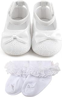 DELEBAO Baby Girl Infant Satin Mary Jane Baptism Shoes Dance Ballerina Slippers