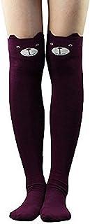 Calcetines altos hasta la rodilla para mujer, diseño de oso de gato, color negro, azul y gris