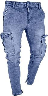 beautyjourneylove Jeans Uomo Stretti alla Caviglia,Pantaloni Jeans Skinny con Foro Distrutto Slim Fit Tascabile,Allungare ...