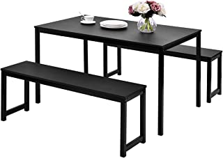LZ LEISURE ZONE Dining Table Set, 3-Piece Wood Kitchen Table with Two Benches, Dining Room Furniture Modern Style Contemporary (Black)