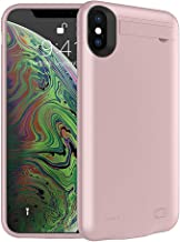 Battery Case for iPhone Xs,FNSON 4200mAh Portable Charger Case Upgraded Version Extended Battery Pack Protective Backup Charging Case Power Bank Compatible with iPhone Xs/X - Rose Gold(5.8 inch)