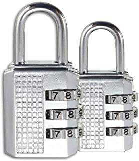 REALMAX®【PACK of 2】Combination Padlock For Lockers 3-Digit Security Waterproof Lock For Outdoor Travel Luggage Bag Suitcas...