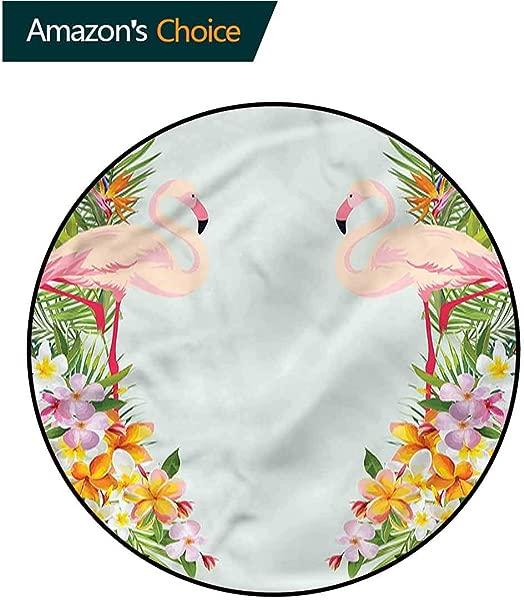 RUGSMAT Floral Warm Soft Cotton Luxury Plush Baby Rugs Tropic Flowers Animals Non Slip Soft Floor Mat Home Decor Round 31