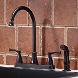 VCCUCINE Commercial Lead-Free Two Handle Oil Rubbed Bronze Kitchen Faucet with Side Sprayer, Stainless Steel 360 Swivel High Arc Kitchen Sink Faucet with Pull Out Sprayer