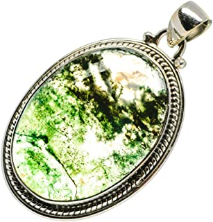 """Green Moss Agate Pendant 1 3/4"""" (925 Sterling Silver) - Handmade Boho Vintage Jewelry PD694616"""