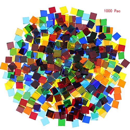 Mosaic Tiles Mixed Color Mosaic Glass Pieces for Home Decoration or DIY Crafts 1000 Pieces Square