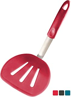 StarPack Premium Flexible Wide Silicone Turner Spatula - High Heat Resistant to 600°F, Hygienic One Piece Design, Non Stick Rubber Kitchen Utensil for Fish, Eggs, Pancakes, Cookies & more (Cherry Red)