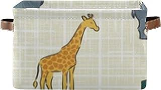 Panier de rangement décoratif en forme d'animal Safari avec poignée pour ranger des vêtements, des livres - 36,1 x 25,9 x ...