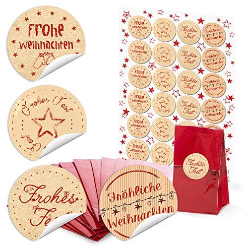 24 rode blokbodemzakken pergamijn inzetstuk 7 x 4 x 20,5 C) + ronde kerststickers kerstwensen verpakken bonbonbons, thee en kleine cadeaus Kerstmis